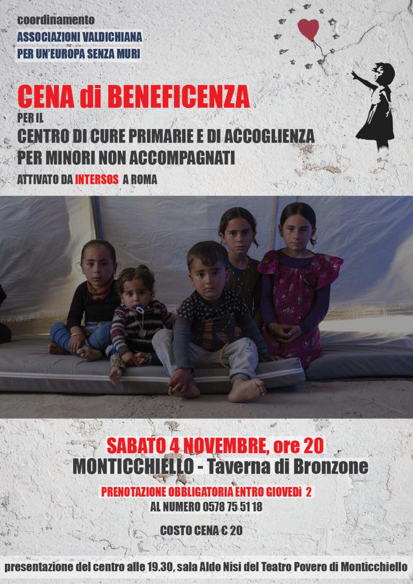 Manifesto cena di beneficenza del 4 novembre